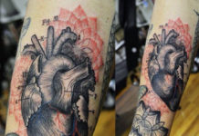 Heart tattoo on extremity diagram