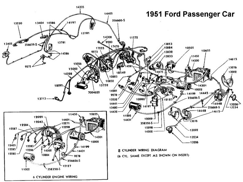1951 Ford passenger car wiring diagram