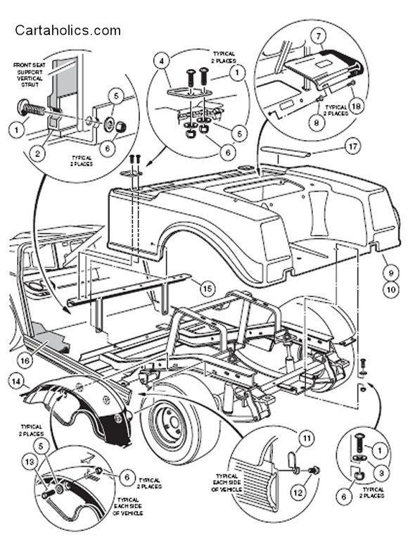 Club Car Golf Cart Body Diagram