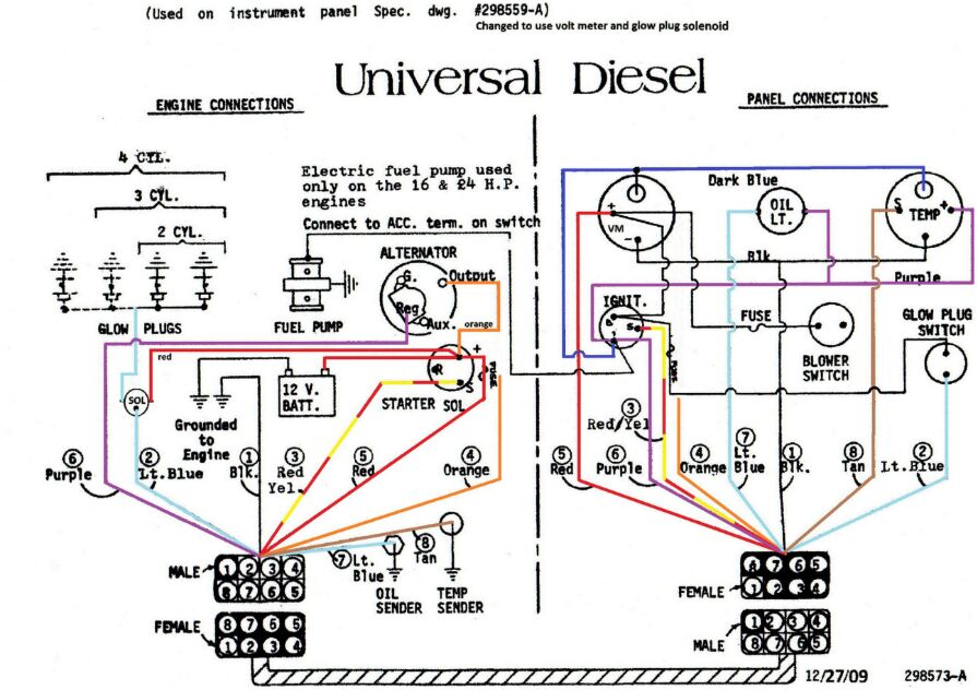 Universal diesel engine connection and panel connection diagram