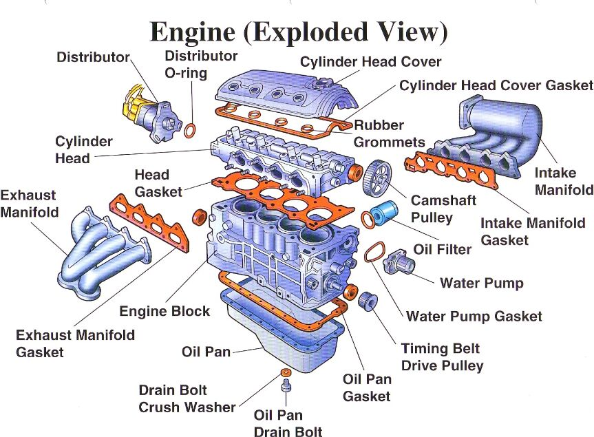Car engine anatomical structure