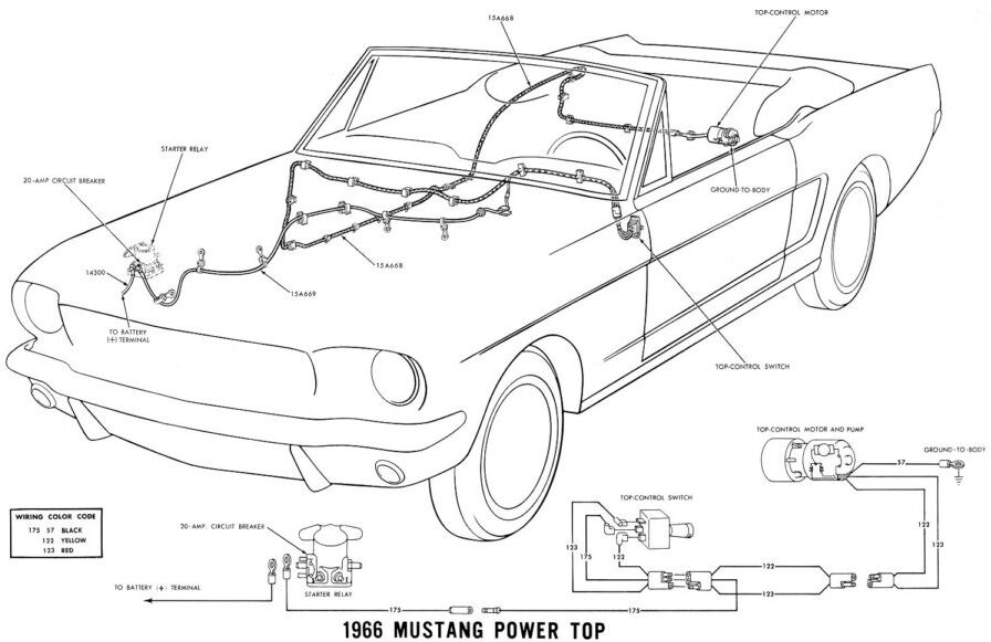 1966 Mustang Power Top Car Diagram