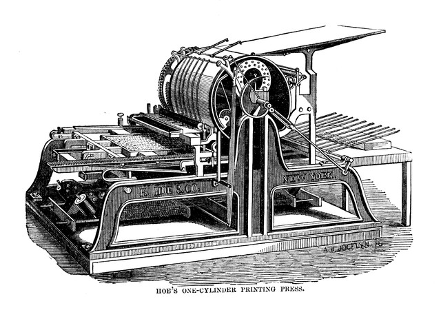 Hoe's One-cycling Printing Press Structure Diagram