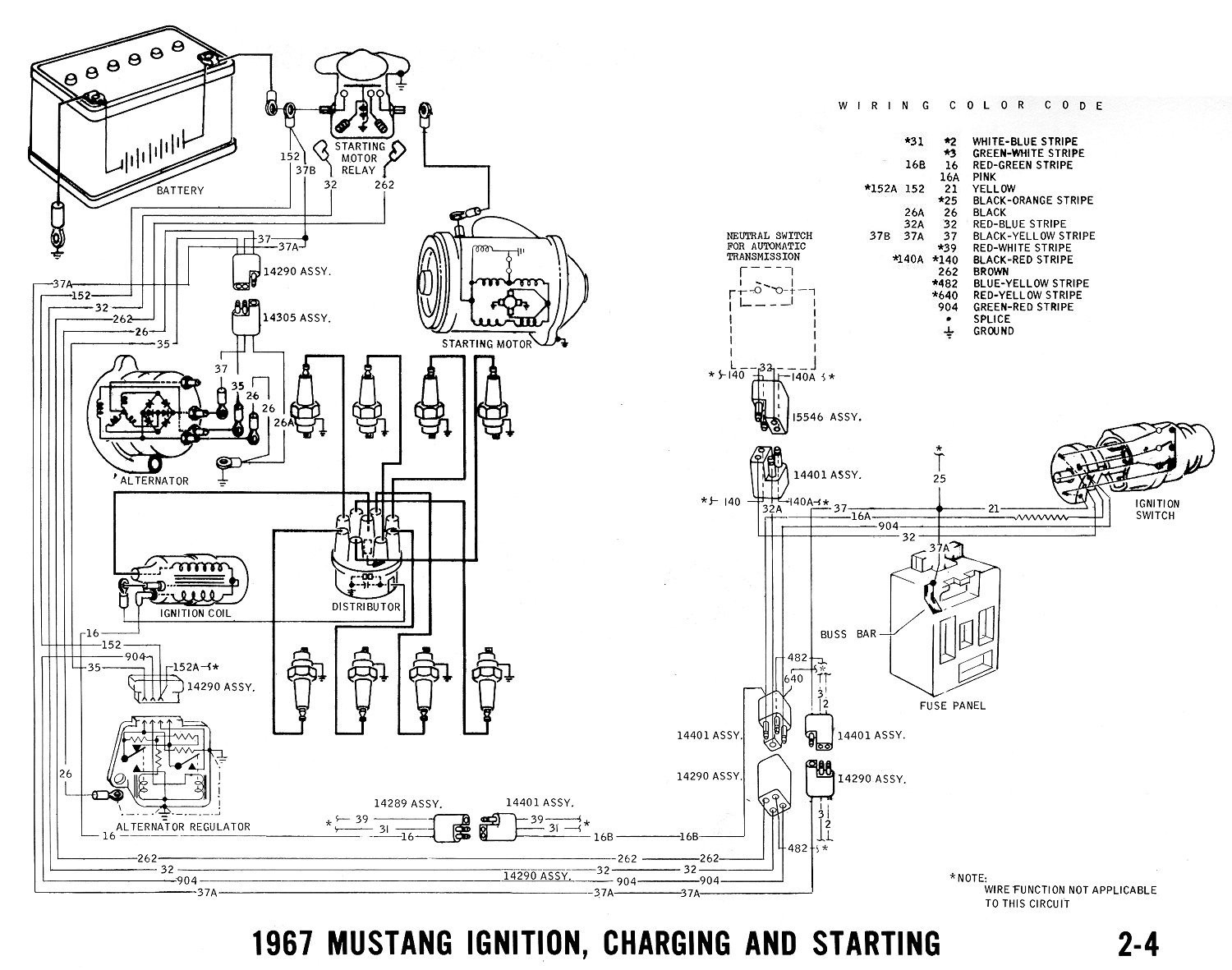 1967 Mustang Ignition, Starting And Charging DiagramAnatomy Note