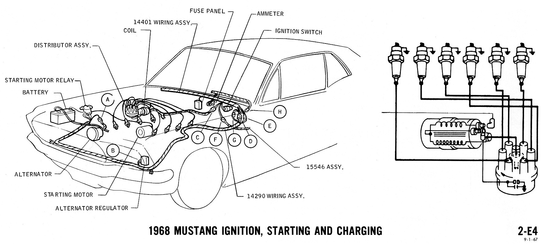 1968 Mustang Ignition, Starting And Charging Diagram