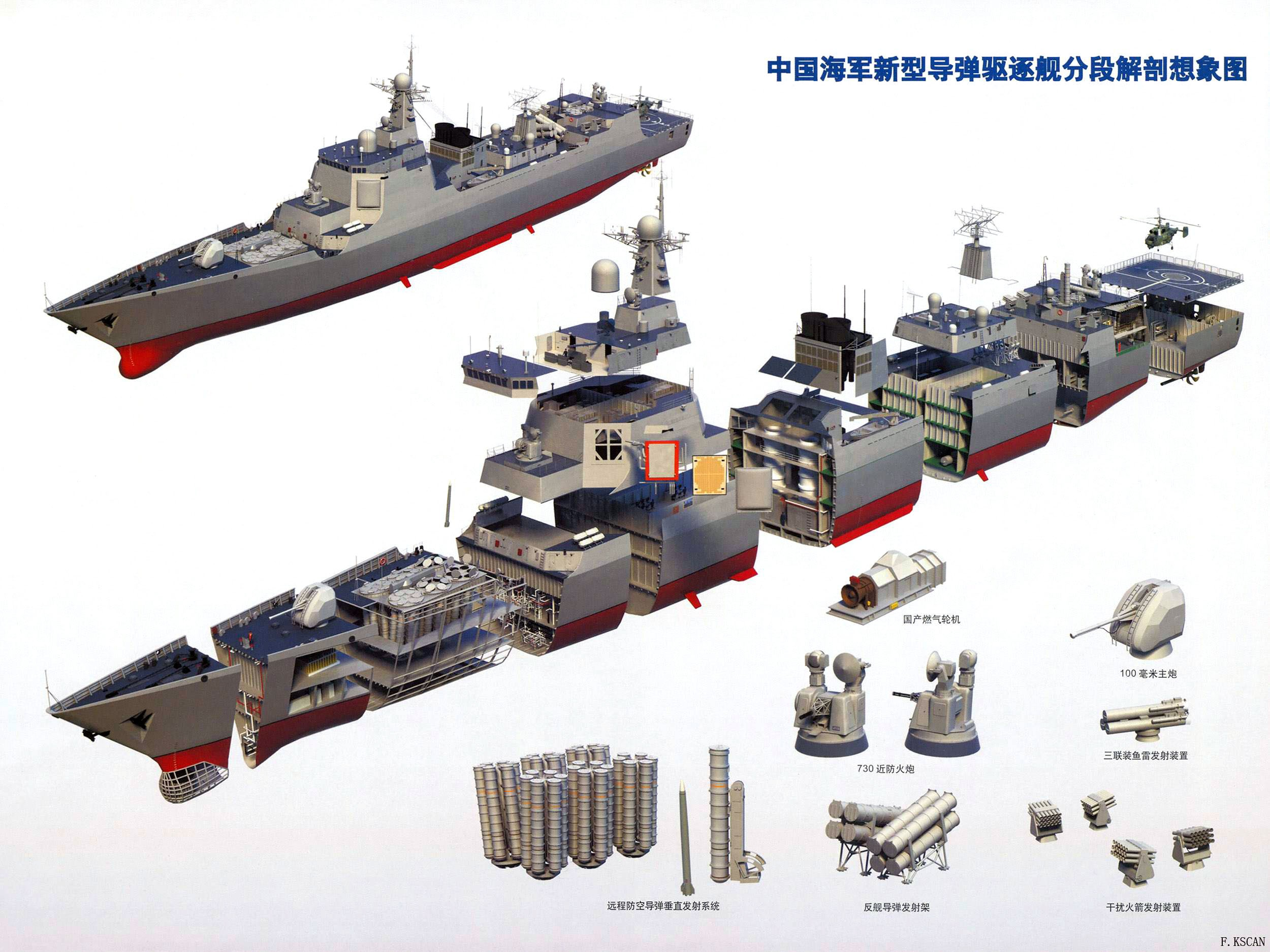 China Navy Missile Equipped Destroyer Sectional View