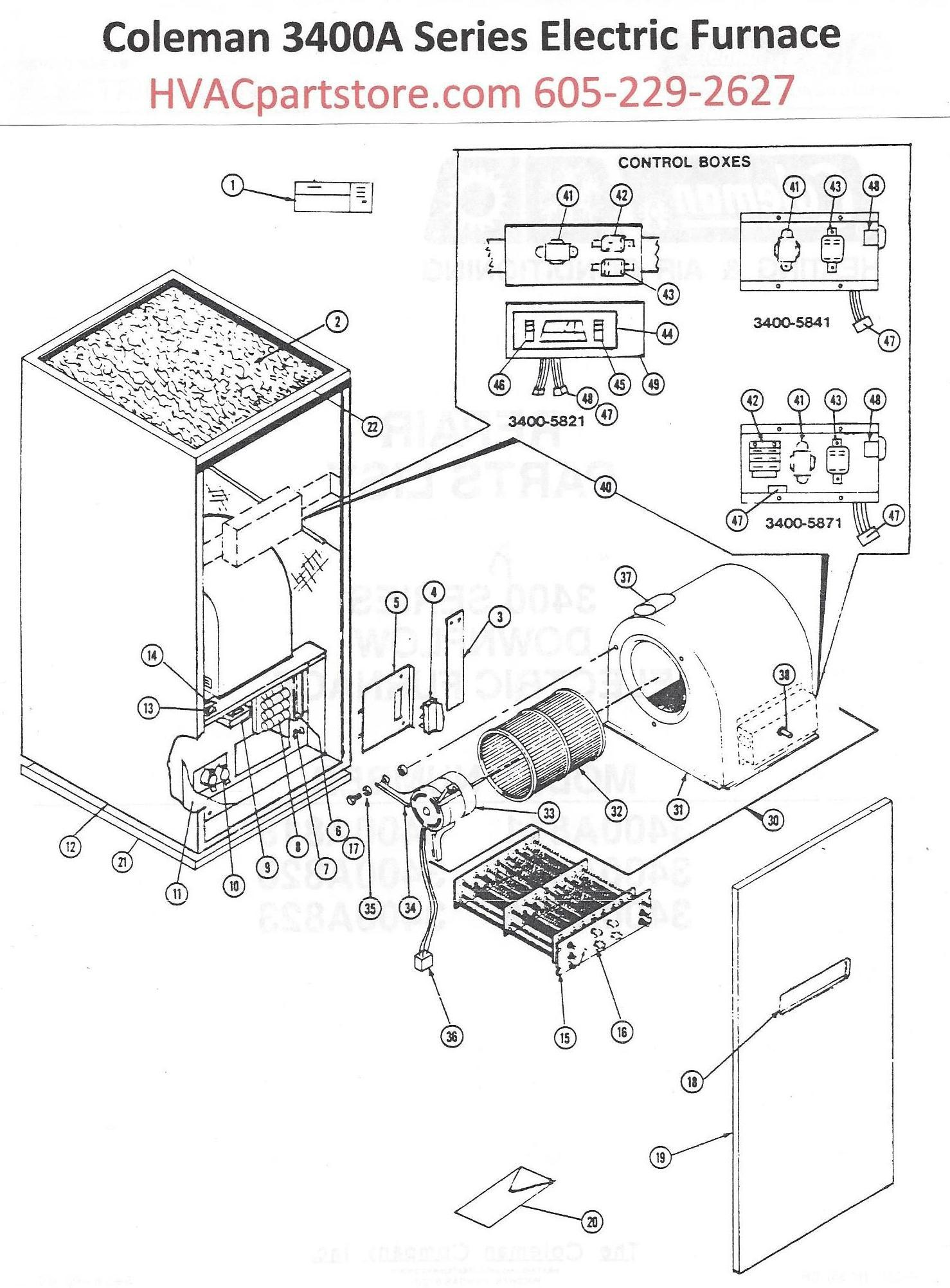 Coleman 3400a Series Electric Furnance Diagram