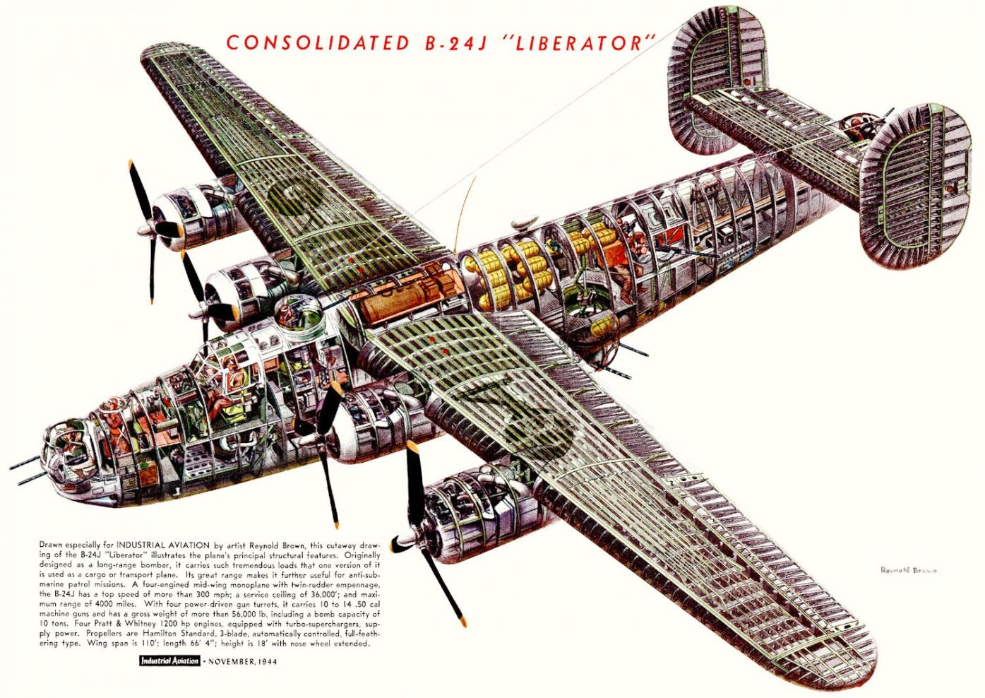 Consolidated B-24j Liberator Plane Internal Structure
