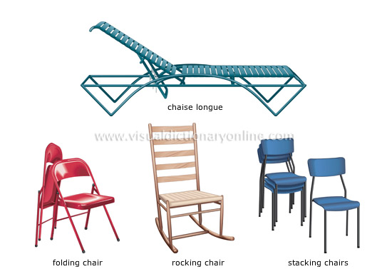 Different Chairs Type chaise longue, folding chair, rocking chair and stacking chairs