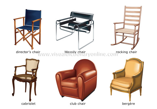 Different Chairs Type director chair, Wassily chair, rocking chair, cabriolet, club chair, Bergere