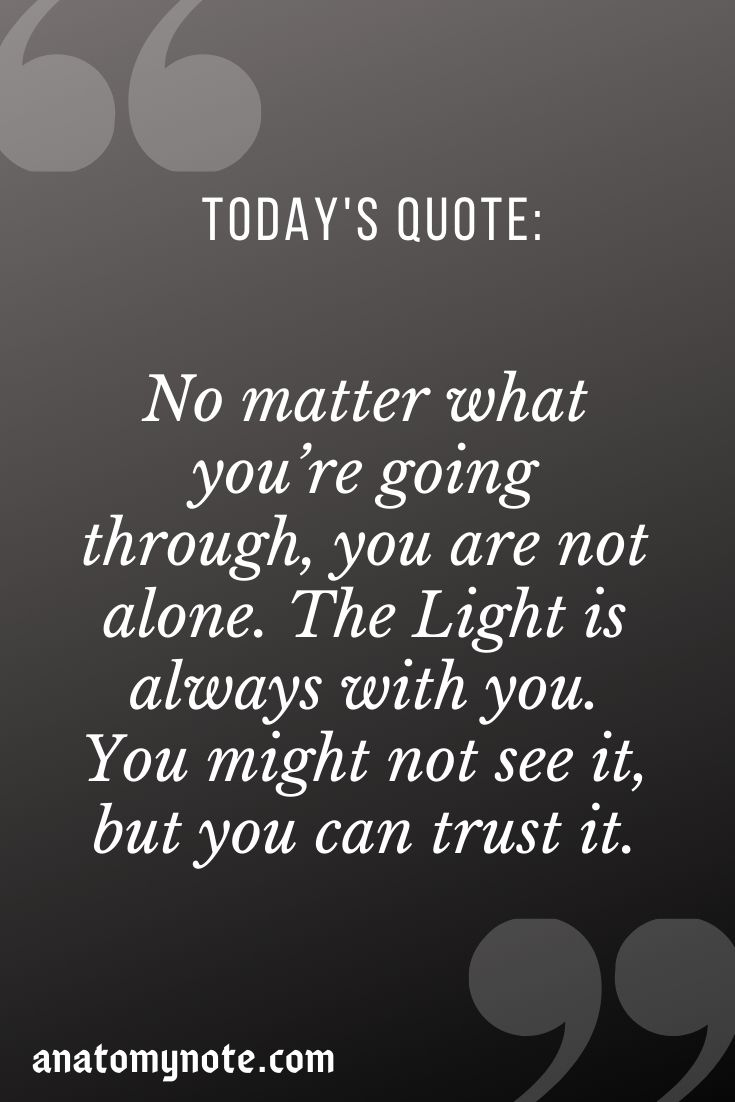 No Matter What You're Going Through, You Are Not Alone. The Light Is Always With You. You Might Not See It, But You Can Trust It.