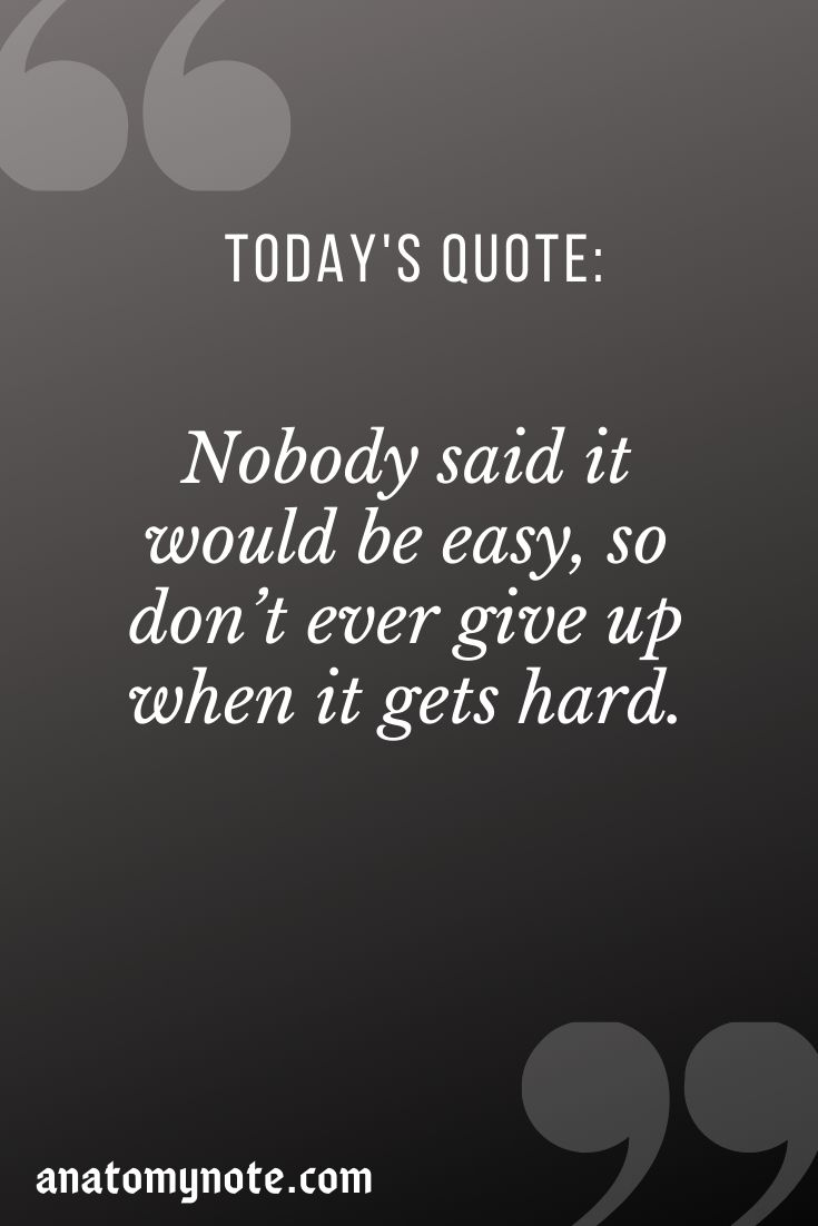Nobody Said It Would Be Easy, So Don't Ever Give Up When It Gets Hard.