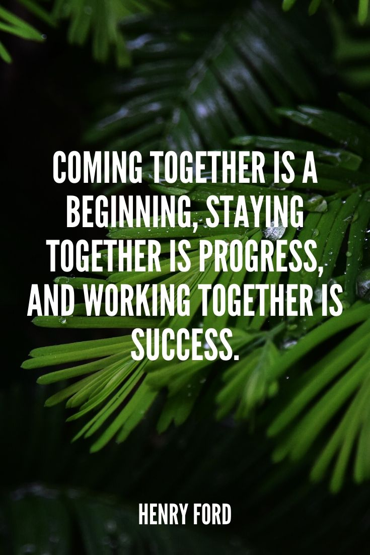 'coming Together Is A Beginning, Staying Together Is Progress, And Working Together Is Success.' – Henry Ford