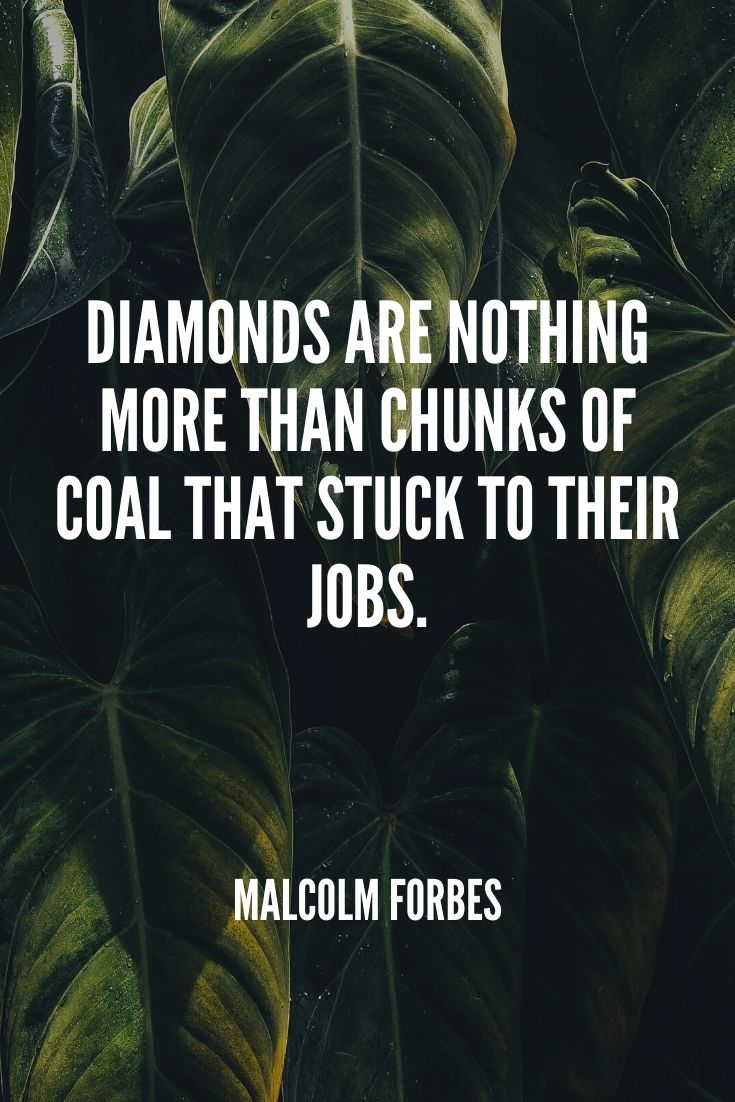 'diamonds Are Nothing More Than Chunks Of Coal That Stuck To Their Jobs.' – Malcolm Forbes