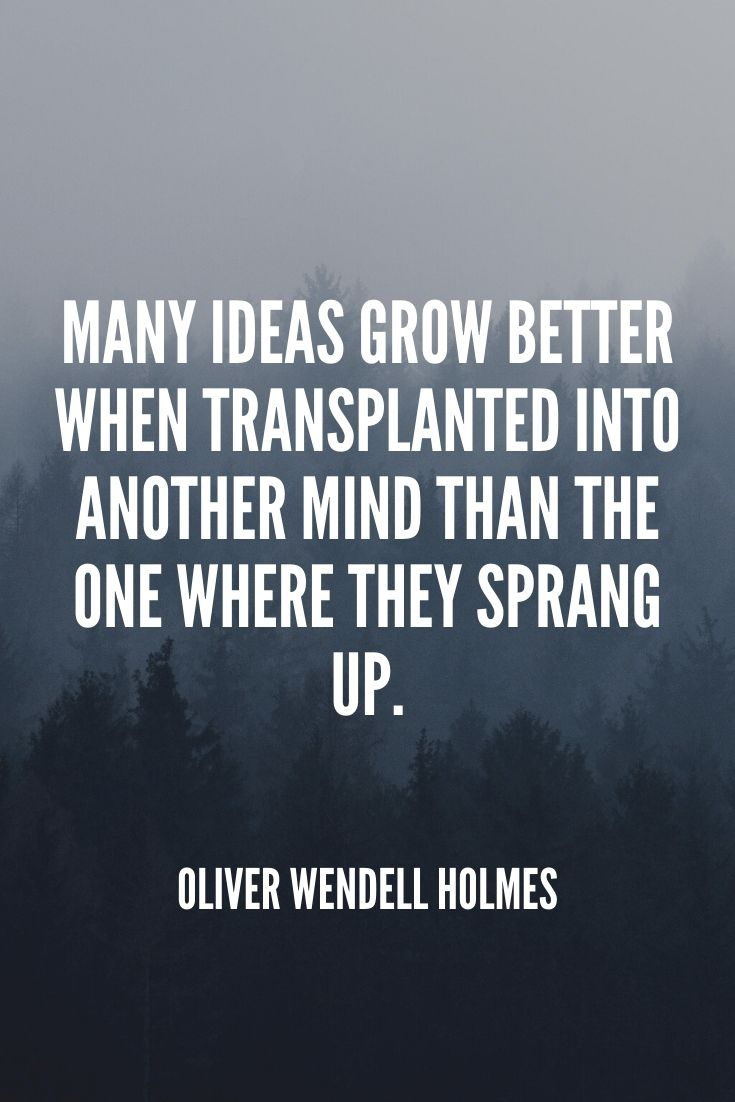 'many Ideas Grow Better When Transplanted Into Another Mind Than The One Where They Sprang Up.' – Oliver Wendell Holmes