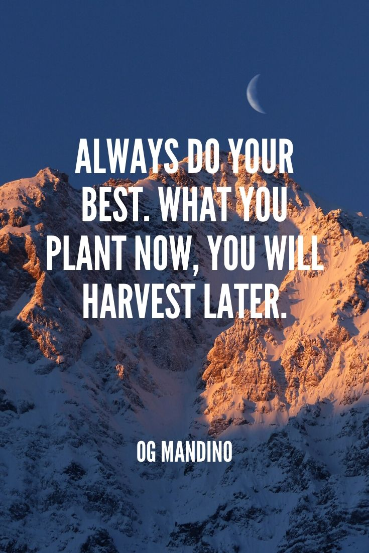 'always Do Your Best. What You Plant Now, You Will Harvest Later.' -og Mandino (1)